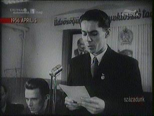 Váradi Mihály, titkár, DISZ, R[ákosi] M[átyás] Acélmű. 1956