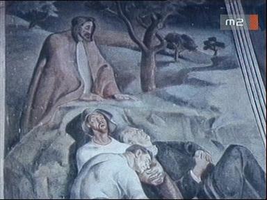 [Márkos Béla naiv festő festménye a petrikeresztúri templomban]