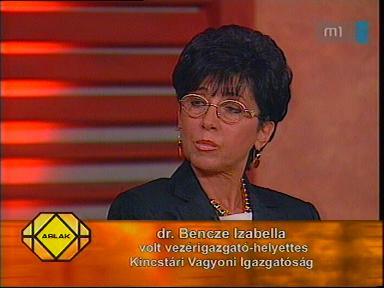 dr. Bencze Izabella, volt vezérigazgató-helyettes, Kincstári Vagyoni Igazgatóság