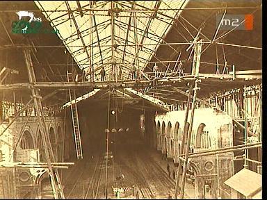 A budapesti Nyugati pályaudvar vonatfogadó csarnokánk építése, 1870-es évek