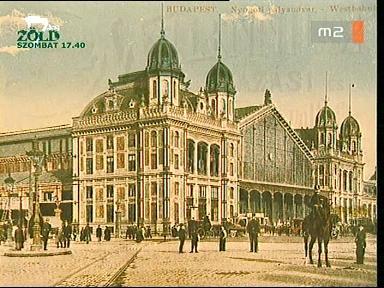 A budapesti Nyugati pályaudvar ábrázolása képeslapon, 1896 körül