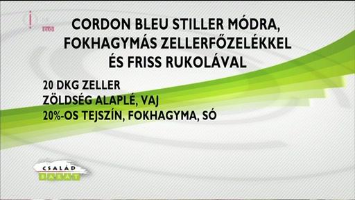 Cordon Bleu Stiller módra, fokhagymás zellerfőzelékkel és friss rukolával 2/2